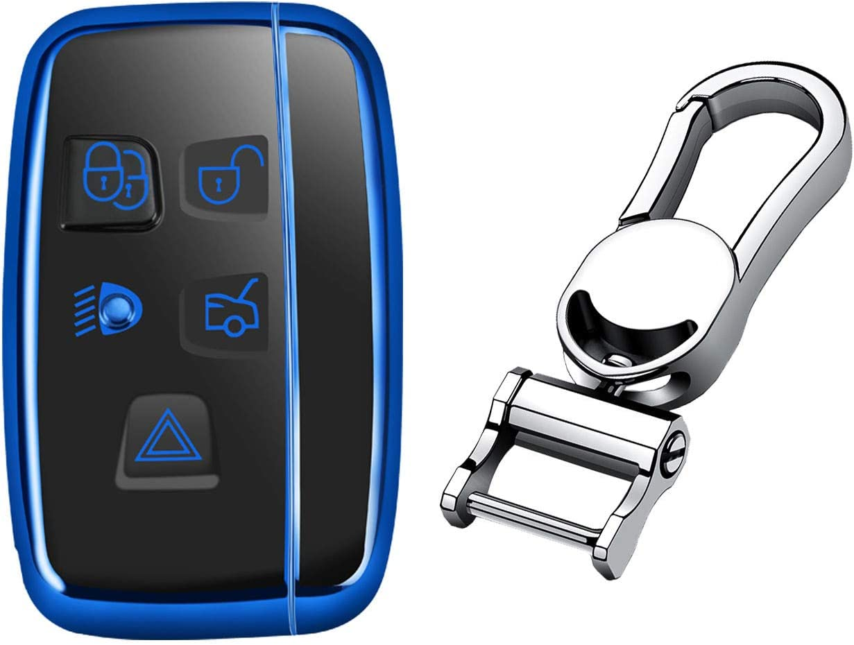 MissBlue Soft Car Key Fob Cover for Land Rover Discovery Sport Discovery 4 Freelander 2 Range Rover Evoque Car Remote Key Case Protector Glossy TPU - Blue - Metal Keychain