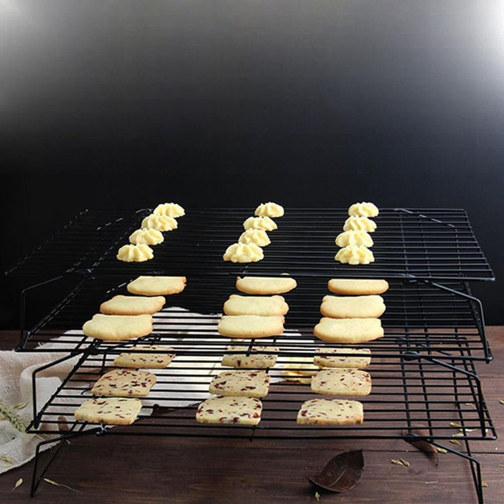 Bakeable Cooling Rack, 3-tier Bakeable Nonstick Cooling Rack Carbon Steel Stackable Wire Cookie Cake Cooling Rack for Bread and Other Baked Food, Stable Legs, Oven Safe, 15.79.8'' by Aolvo (Image #7)