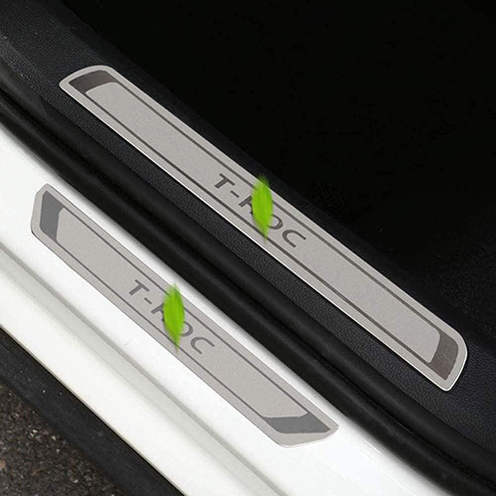 DENGD Plinthes Garnitures de seuil de Porte pour Volkswagen VW T-Roc T Roc 2017 2018 2019 2020 4 pi/èces seuil de p/édale dusure Acier Inoxydable Accessoires de Garniture de Protection