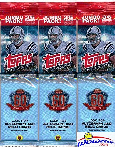 2015 Topps NFL Football Lot of THREE(3) EXCLUSIVE Factory Sealed JUMBO FAT PACKS with 108 Cards! Loaded with RC'S & INSERT Cards! Look for RC's & Autographs of Jameis Winston, Marcus Mariota & More!