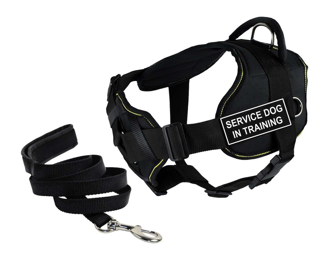 Dean & Tyler Bundle of 28 to 34-Inch DT Fun Harness with Chest Support and 6-Feet Stainless Snap Padded Puppy Leash, Service Dog in Training, Black with Yellow Trim