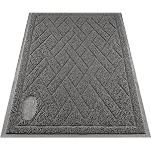 Pawkin Cat Litter Mat, Patented Design with Litter Lock Mesh, Extra Large, Durable, Easy to Clean, Soft, Fits Under Litter Box, Litter Free Floors, Gray 116