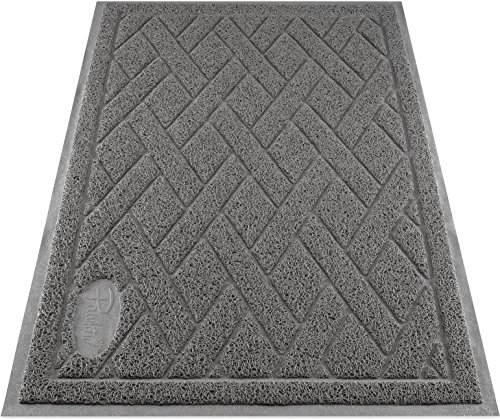 Pawkin Cat Litter Mat, Patented Design with Litter Lock Mesh, Extra Large, Durable, Easy to Clean, Soft, Fits Under Litter Box, Litter Free Floors, Gray (Best Robot Vacuum For Cat Litter)