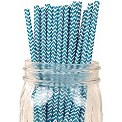 Just Artifacts Decorative Chevron Striped Paper Straws (100pcs, Chevron Striped, Teal)