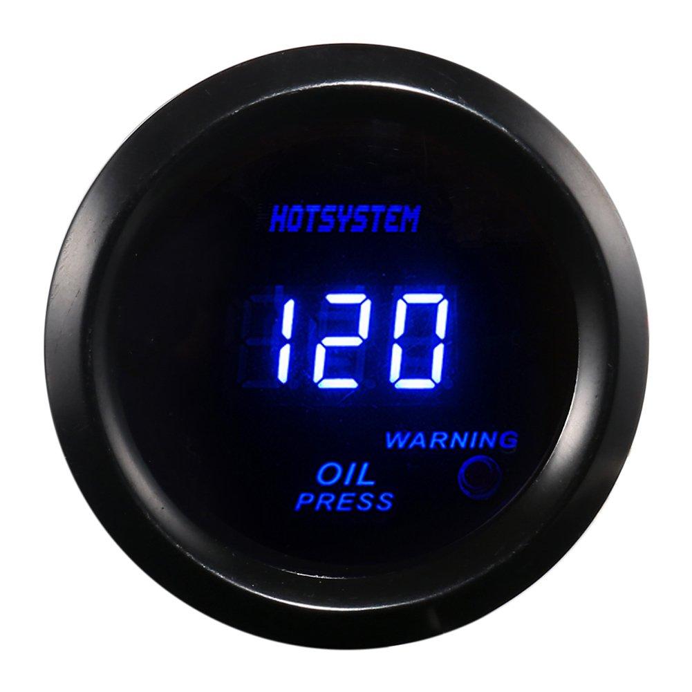 "Amazon.com: HOTSYSTEM Universal 2"" 52mm Black OIL PRESSURE GAUGE DIGITAL  BLUE LED: Automotive"
