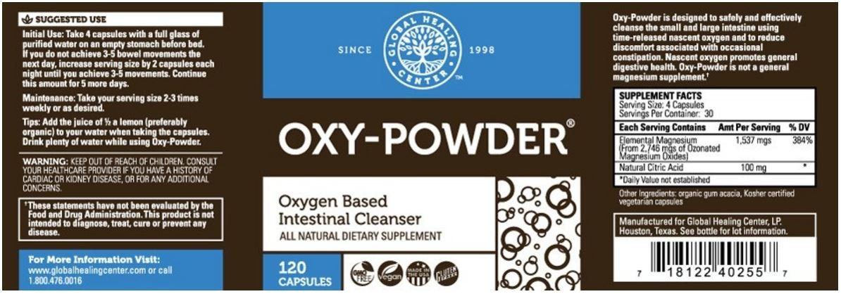 Oxy-powder Intestinal Cleanser - 120 Vegetarian Capsules (2 Pack)