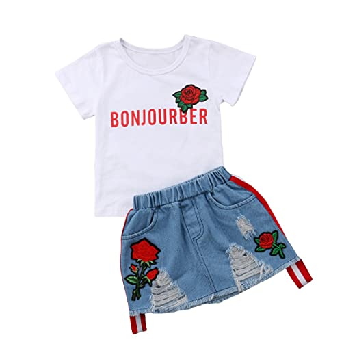 a4eb7c5a9 Amazon.com: Aliven Toddler Baby Girls White Embroidery Floral T-Shirt Tops  + Hole Denim Skirts Outfits Summer Clothing Set 2018: Clothing