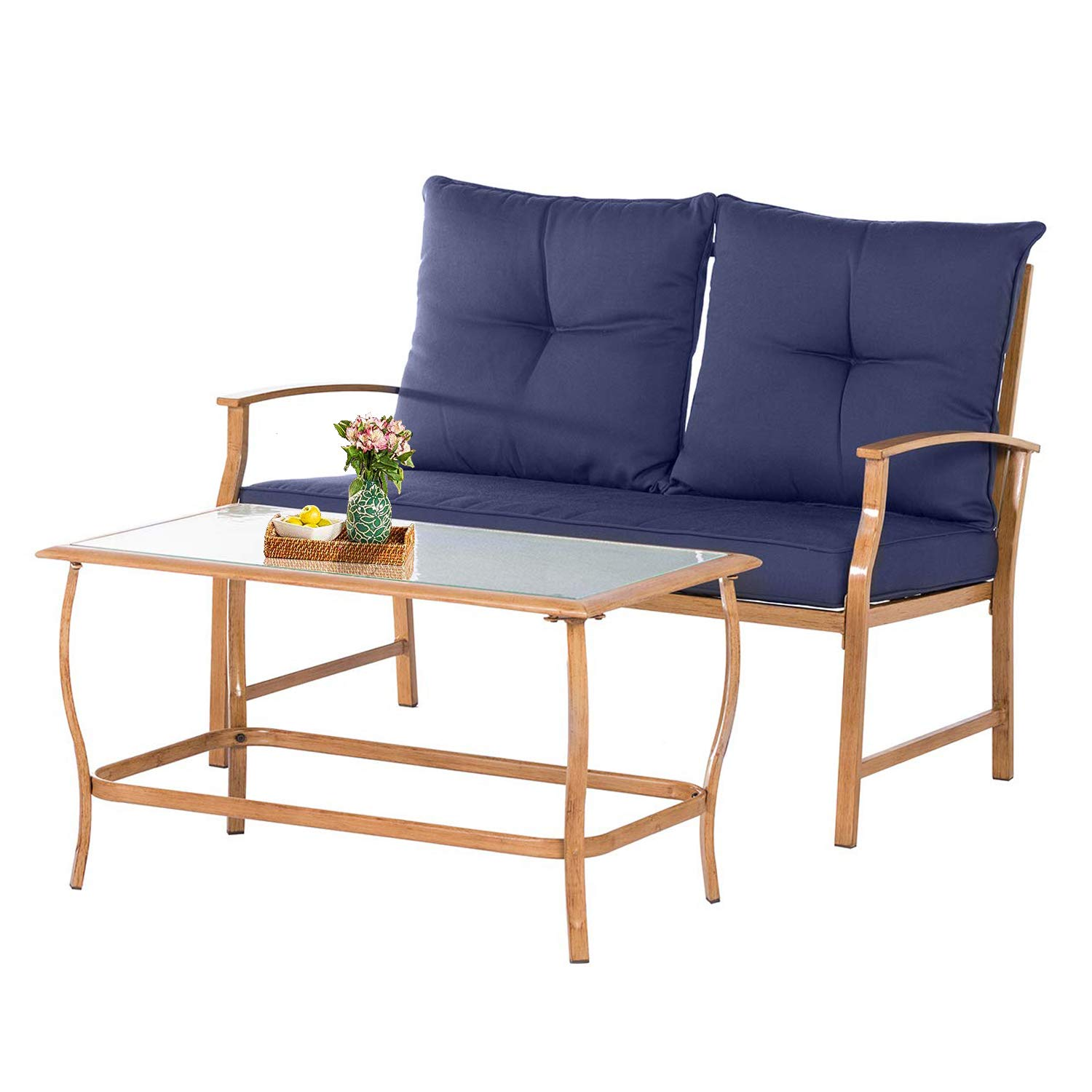 Incbruce Outdoor Loveseat Chair Patio Bench 2-Pieces , Garden Loveseat Seating Patio Wrought Metal Navy Blue Chair with Cushion