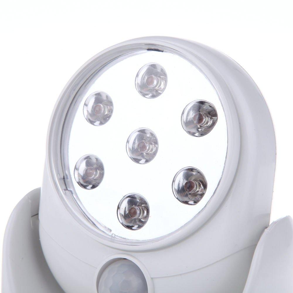 Port/átil Iluminaci/ón para Jard/ín Patio y Pared Caseta 12.5cm Inal/ámbrico LED Luz para Interior y Exterior Hogar Iluminaci/ón con Movimiento Sensor Blanco Funciona con Pilas Compatible con Aa