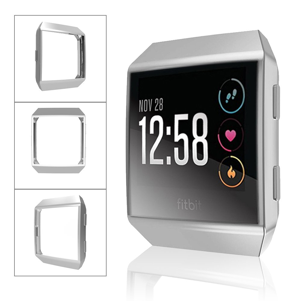 Fitbit Ionic Watch protect Case,Omni-directional Protect Screen Soft TPU Ultra-thin HD Clear Cover for Fitbit Ionic smart Watch (clear+silver) by ZRXS (Image #4)