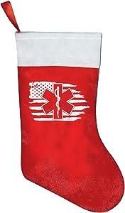 HOCLOCE American Flag EMS Star of Life EMT Paramedic Medic Christmas Stocking Treat Holders Xmas Ornament Bags Santa Holiday Party Mantel Decoration 16.5 inch
