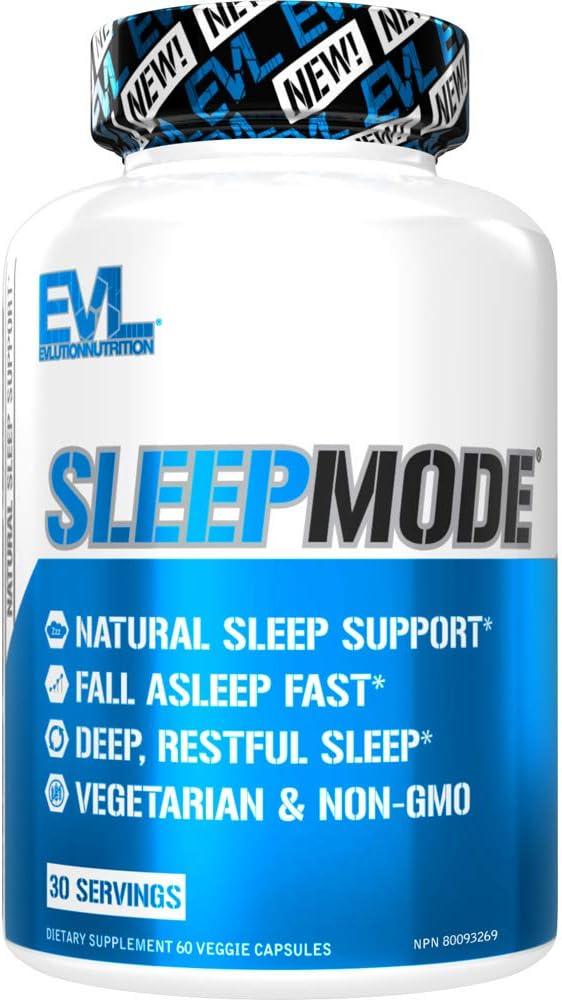 Evlution Nutrition Sleep Mode Fall Asleep Faster Melatonin Gaba Valerian Root More Natural Aid For Deeper Sleep Relaxation 60 Vegetarian Capsules 30 Servings Health Personal Care