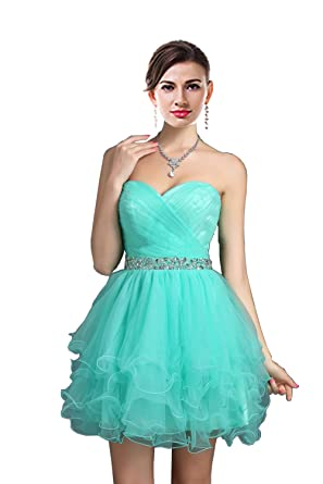 Review MaliaDress Short Sweetheart Rhinestone Tulle Homecoming Dress Prom Gowns M021LF