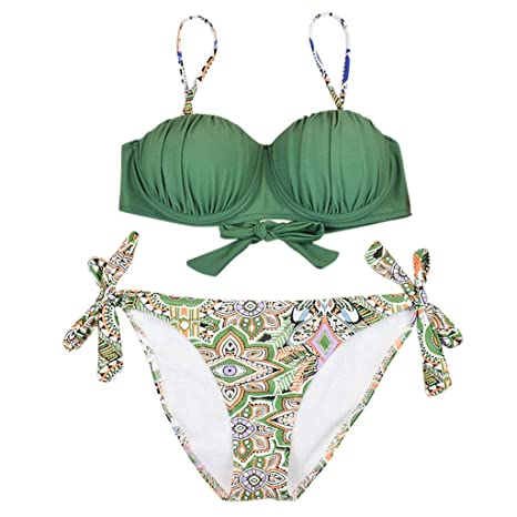 Women Floral Print Bikini Sets Two Piece Deep-V Swimsuit Swimwear Beach Suit UK