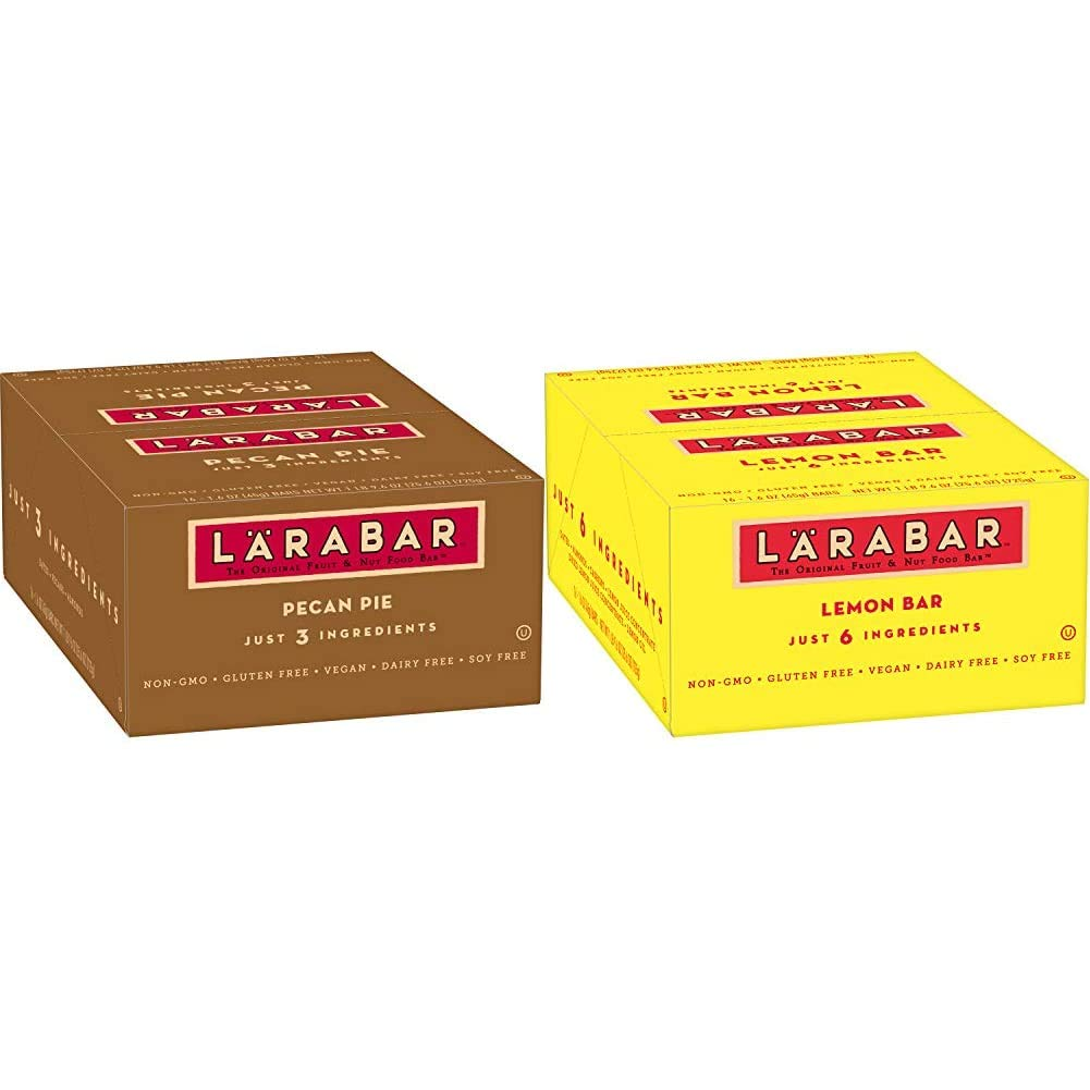 Larabar, Fruit & Nut Bar, Pecan Pie, Gluten Free, Vegan (16 Bars) & Gluten Free Bar, Lemon, Whole Food, Dairy Free Snacks, 1.6 Ounce (Pack of 16)