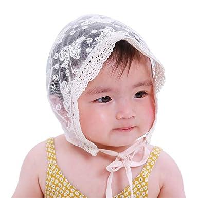 754e7d795 LACOFIA Newborn Girls Princess Hat Cotton Baby Bonnet Infant Lace Floral  Beanie Cap with Adjustable Chin Strap