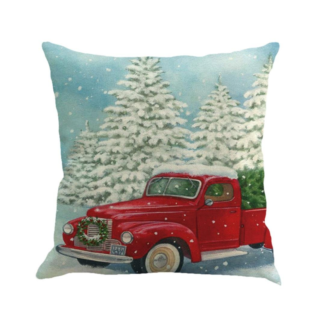 Christmas Pillow Covers,Wakeu Cushion Case with Zipper 18x18,Christmas Tree and red car Decorations (08)