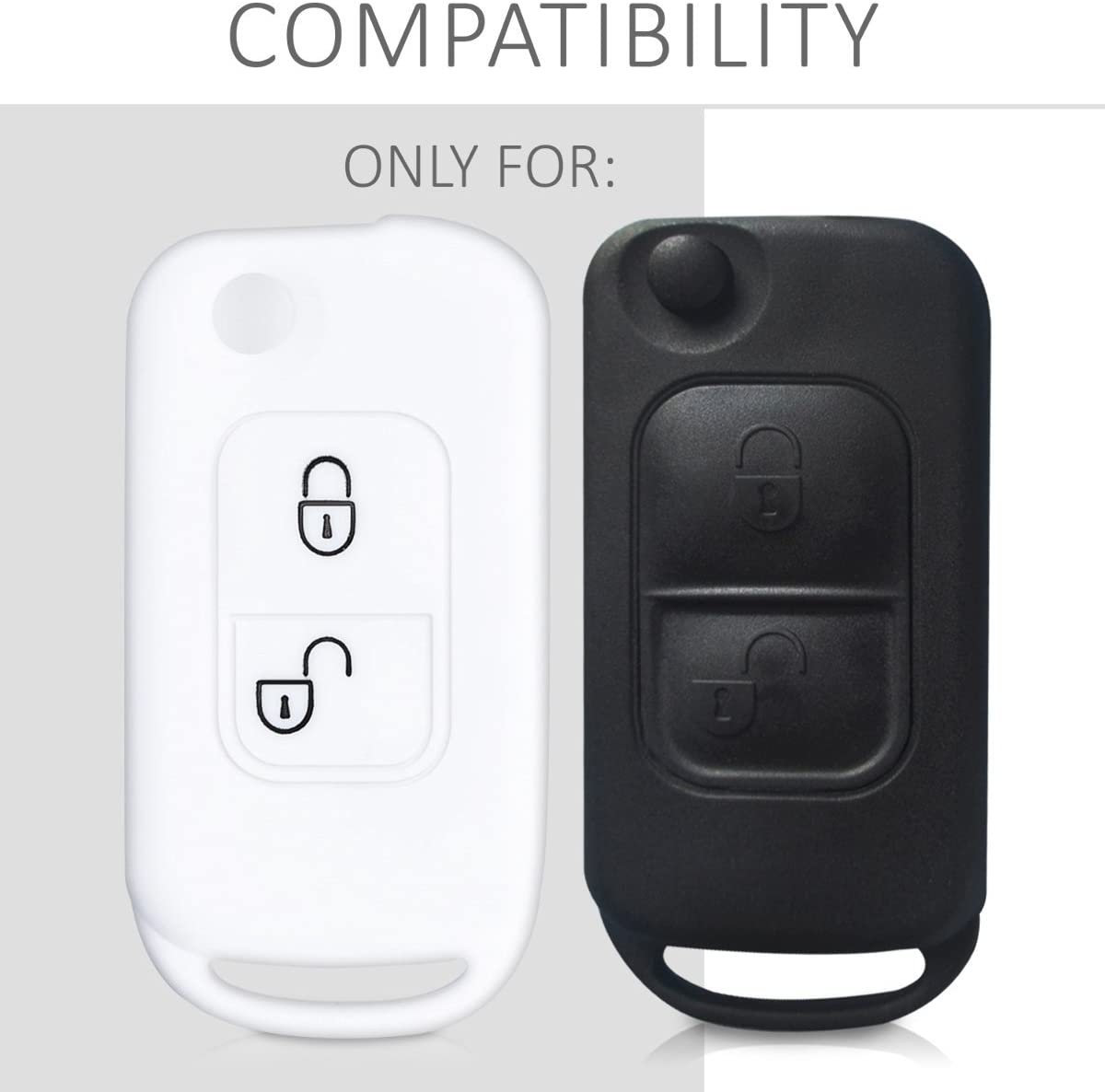 Silicone Protective Key Fob Cover White kwmobile Car Key Cover Compatible with Mercedes-Benz 2 Button Flip Key