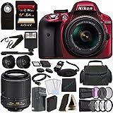 Nikon D3300 DSLR Camera with 18-55mm AF-P DX Lens (Red) + Nikon AF-S DX NIKKOR 55-200mm f/4-5.6G ED VR II Lens + Battery + Charger + Sony 64GB UHS-I SDXC Memory Card (Class 10) + Flash Bundle