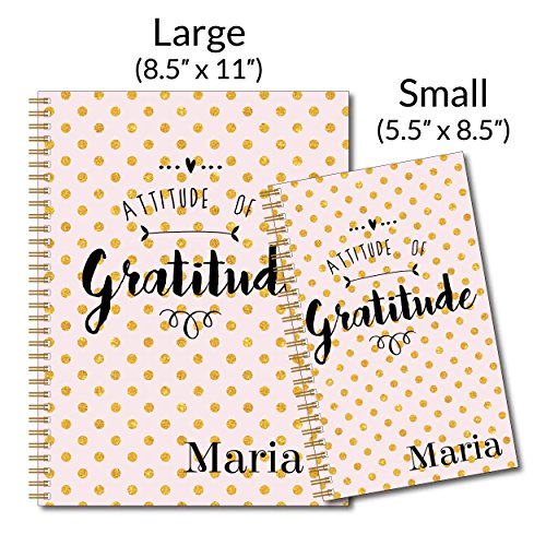 Gratitude Inspirational Personalized Pink & Gold Notebook/Journal, 120 Wide Ruled or Checklist Pages, durable laminated cover, and wire-o spiral. 8.5x11 | 5.5x8.5 | Made in the USA Photo #4