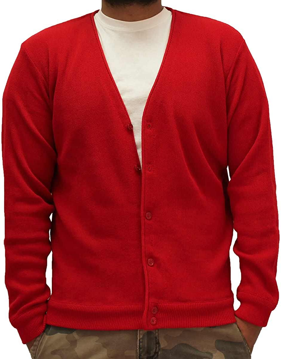 Mens L//S Links Cardigan Sweater 4000-37 M, Red