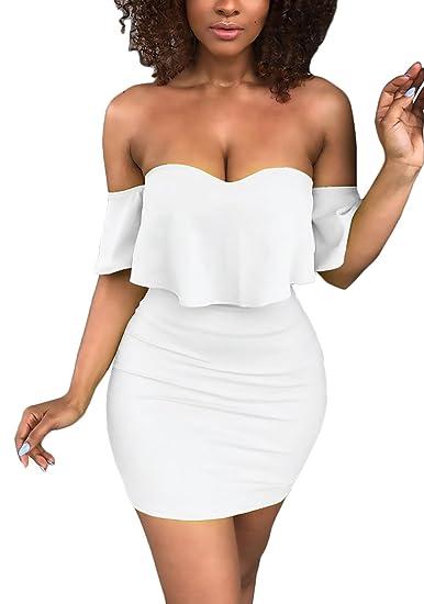 Vestidos Cortos Mujer Verano Elegantes Sin Hombro Volantes Fashion Color Sólido Apretados Vestido Coctel Vestidos De Fiesta Señora Moda Fiesta: Amazon.es: ...