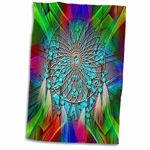 Dishes Native American (3dRose Spiritual Awakenings Native American Indian - Abstract bright fractal colors with a Indian Dream Catcher - 15x22 Hand Towel (twl_273427_1))