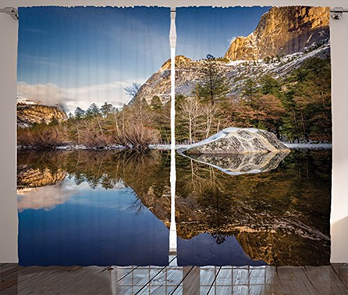 Apartment Decor Curtains Yosemite Mirror Lake and Mountain Reflection on Water Sunset Evening View Picture Living Room Bedroom Decor 2 Panel Set Navy Brown by sophiehome