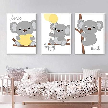 Woodland Letti Per Bambini.Hmotr Woodland Animal Wall Art Canvas Painting Baby Koala Nursery