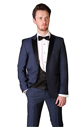 afd834ad87a Image Unavailable. Image not available for. Color  Finestyle Navy Blue Men s  Black Lapel 3 Piece Wedding Suit ...