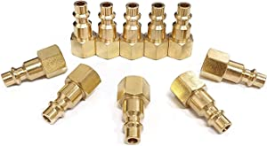 Air Hose Fittings And Quick Connect Air Fittings, 1/4 Inch NPT Brass Female Air Coupler Plug (10 Piece) Industrial Type D, Air Compressor Fittings