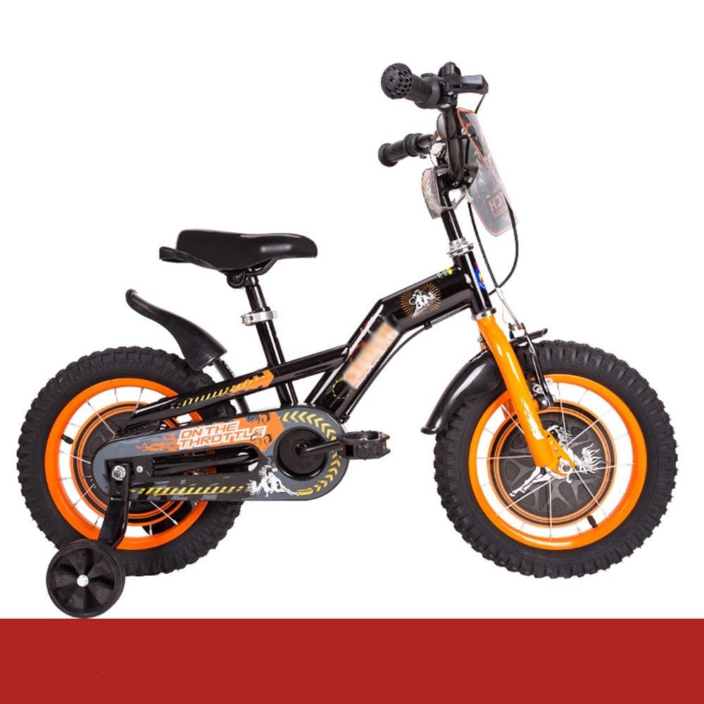 HAIZHEN マウンテンバイク 子供用自転車 トレーニングホイール付きの少年の自転車と少女の自転車 12インチ、14インチ、16インチ、18インチ 子供用ギフト 新生児 B07CCJH5S3 12 inch|オレンジ オレンジ 12 inch