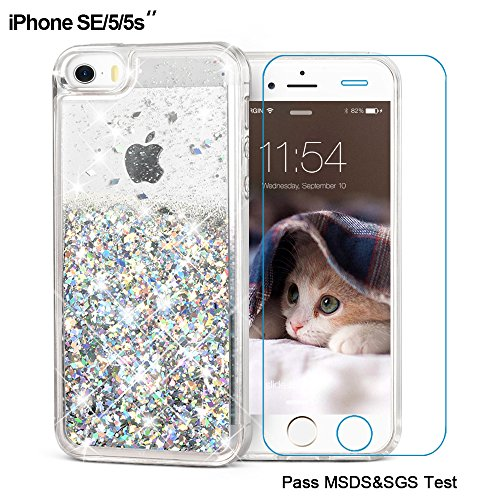 iPhone SE Case, iPhone 5/5S Case, Maxdara [ Screen Protector] Shockproof Glitter Liquid Luxury Bling Sparkle Protective Case Pretty Fashion Creative Design for Girls Children Gifts (Silver)
