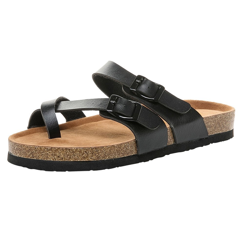 【MOHOLL】 Women's Slide Flat Cork Sandals with Adjustable Strap Buckle Open Toe Slippers Suede Footbed Black