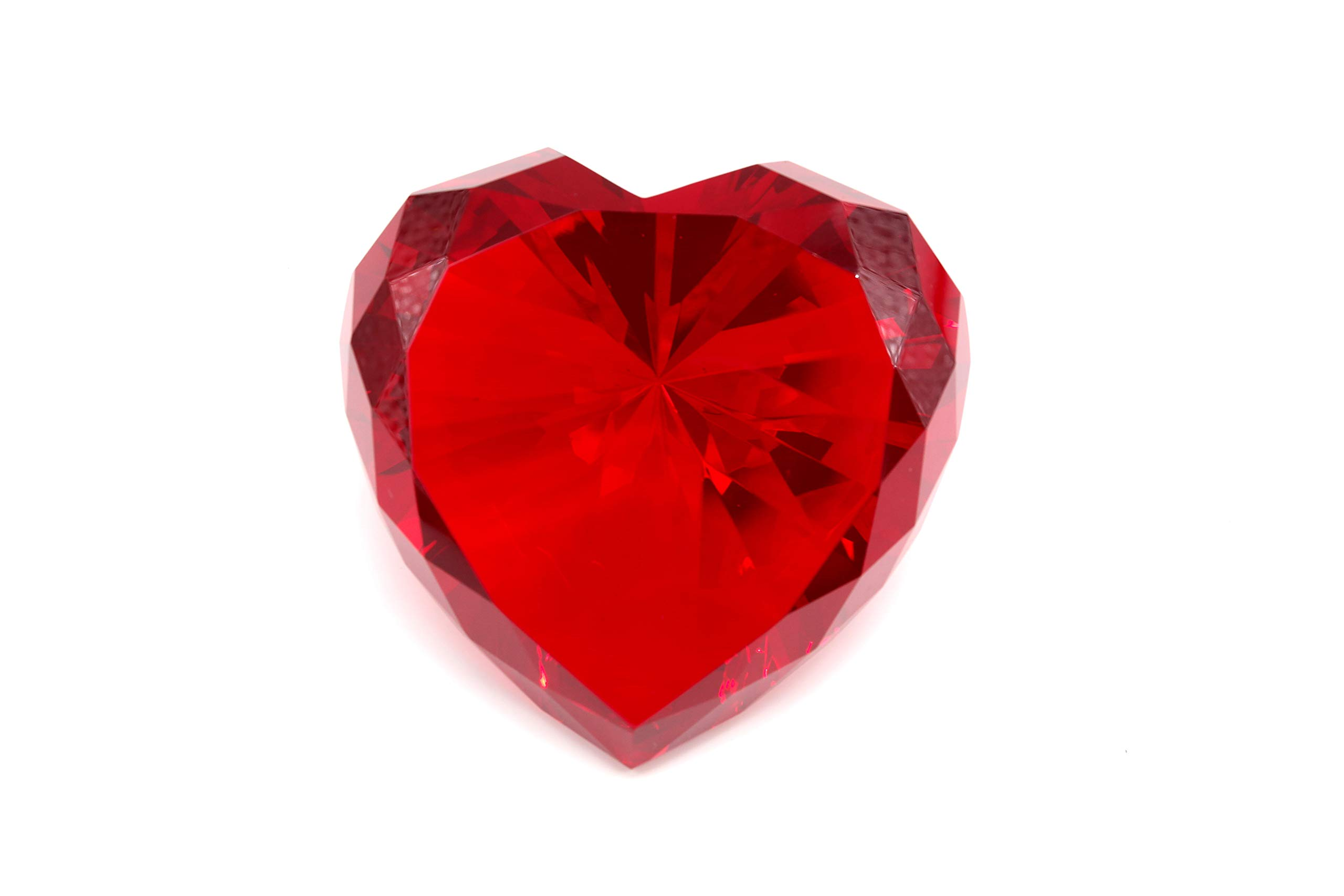 Tripact 80mm Red Color Crystal Glass Diamond Shaped Crystal Paperweight by Tripact Inc