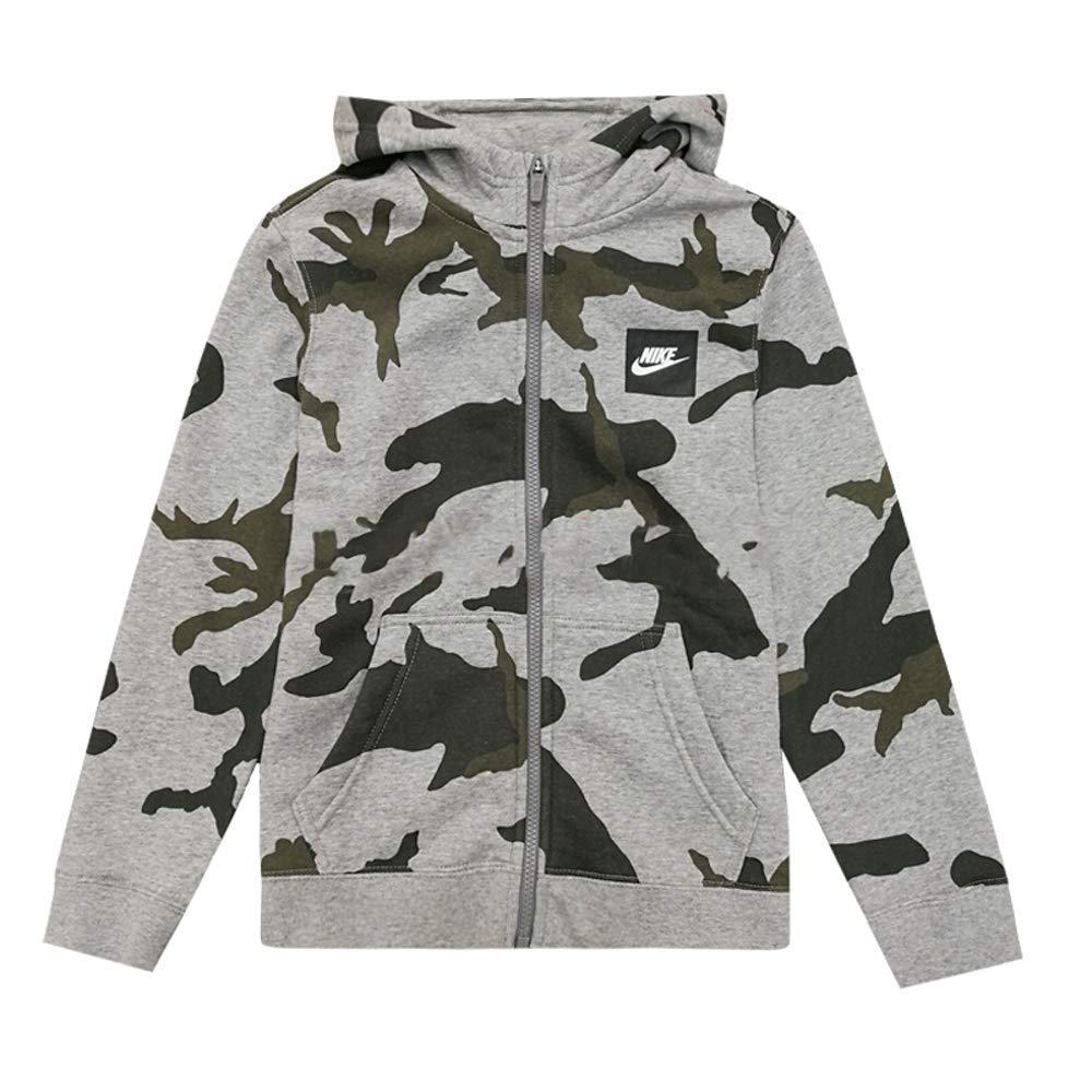Nike Boys Youth Camo Club Fleece Full-Zip Hoodie (Camo Grey, Small)