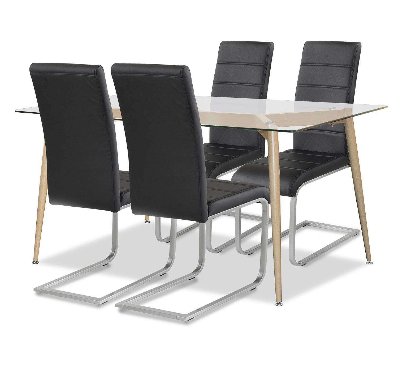 Allegro Agionda ® Esstisch + Stuhlset   1 x Esstisch Oslo 140 x 80 Glas und Stahlgestell + 4 Freischwinger schwarz Hochwertiges PU Kunsleder und 120 kg Belastbarkeit