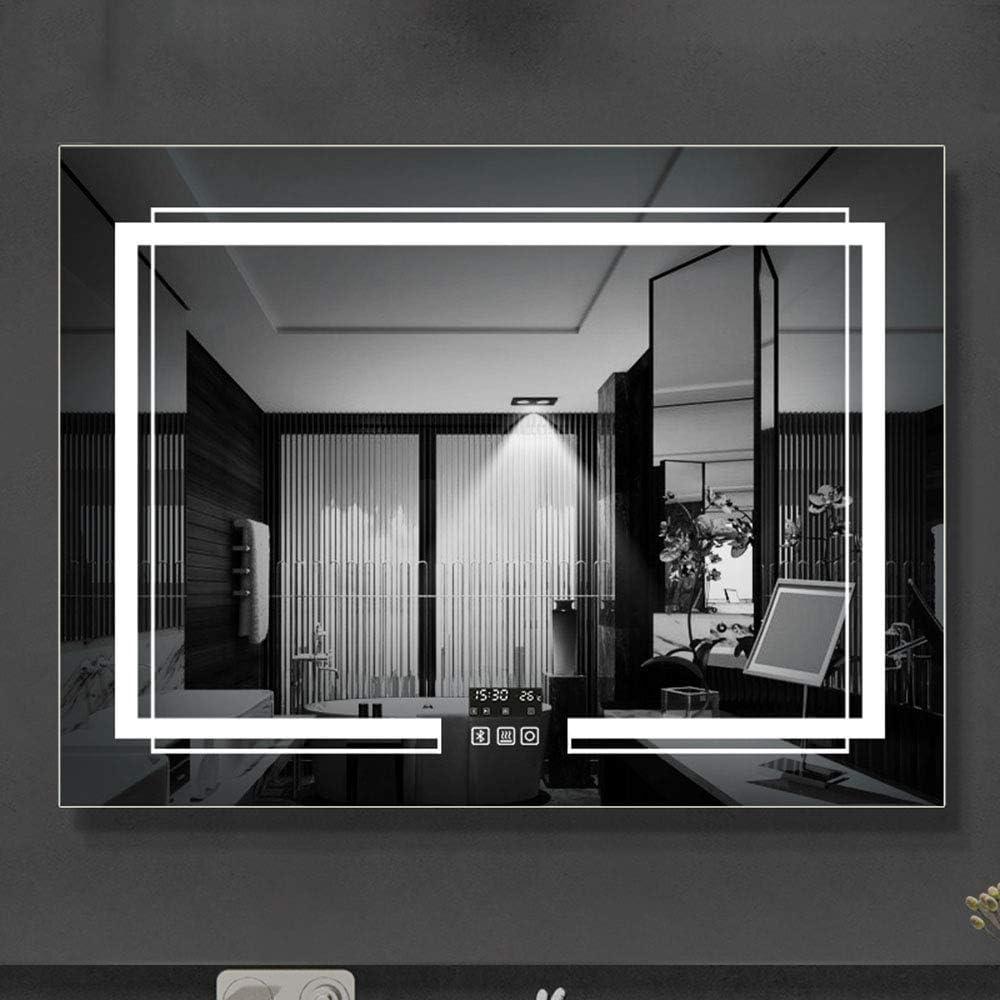 espejo de baño LED - Espejo de luz antiniebla sin luz montado en la Pared del baño, Bluetooth para Reproducir música, luz Blanca/cálida: Amazon.es: Hogar