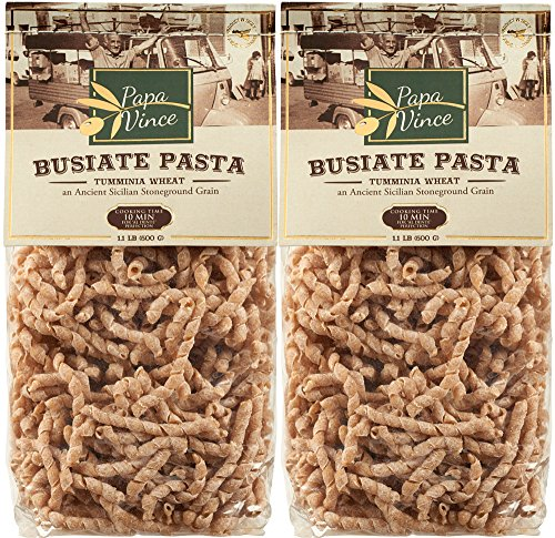 Papa Vince Pasta Whole Grain - Low Gluten | High Fiber | Sugar Free | NON GMO | Tumminia, ancient grain Sicily, Italy |counteracts food intolerance & decreases intestinal disorders | 1 lb (2-Pack) by Papa Vince