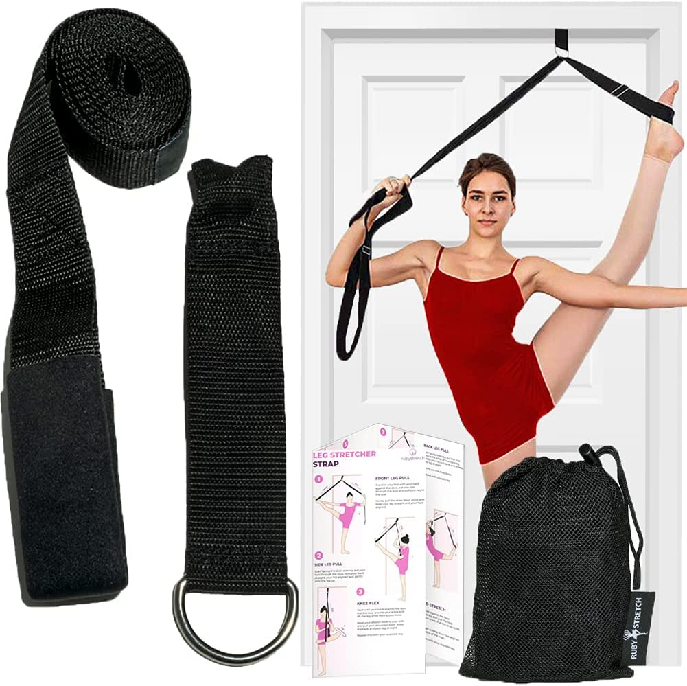 Leg Stretcher Strap, Door Stretch Strap for Flexibility, Adjustable Strap with Door Anchor to Improve Leg Stretching - Door Flexibility Trainer Band with Carrying Pouch for Dance, Cheer, Ballet