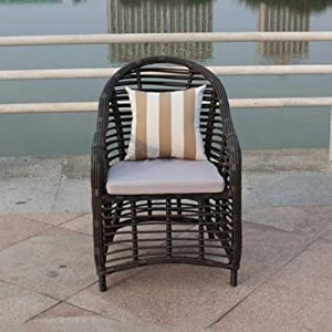 QQXX Outdoor Wicker Chair, Casual Furniture Handmade Thick Rattan Rattan Dining Table, PE Rattan Making Home Furniture (Size : 55x65x80cm)