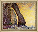 "The Rock Needle Seen through the Porte dAval by Claude Monet - 21"" x 26"" Framed Premium Canvas Print"
