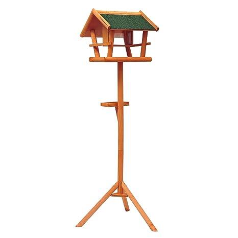 Comedero de pie,Caseta con bandeja de madera para pájaros,