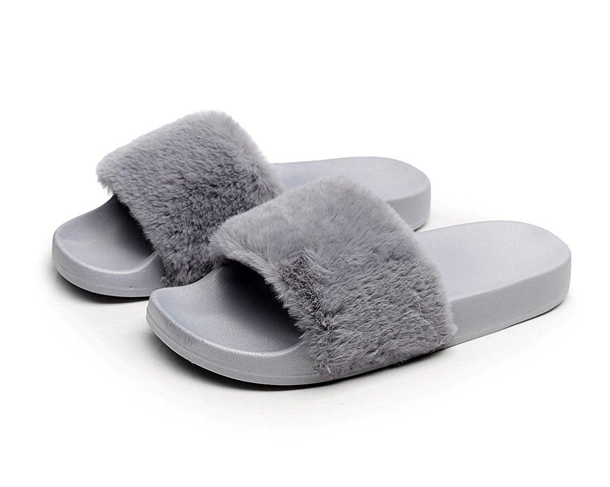 Charles Albert Women's Soft Faux Fur Marabou Flat Slide Sandal (9, Grey)