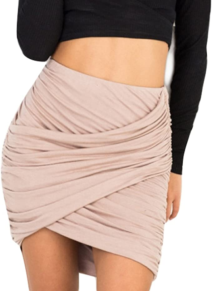 Hibote Mujer Falda Cortos Mini Vestido - Femmes Falda Cintura Alta ...