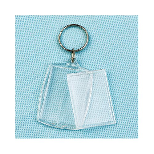 (Feamos Clear Acrylic Plastic Key Rings with Blank Photo Frame for Decoration 40x27mm Insert)