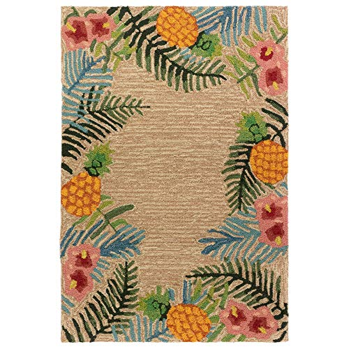 Liora Manne RVL23228012 Ravella Tropical Indoor/Outdoor Rug 2' X 3' Neutral (Rugs Tropical Accent)