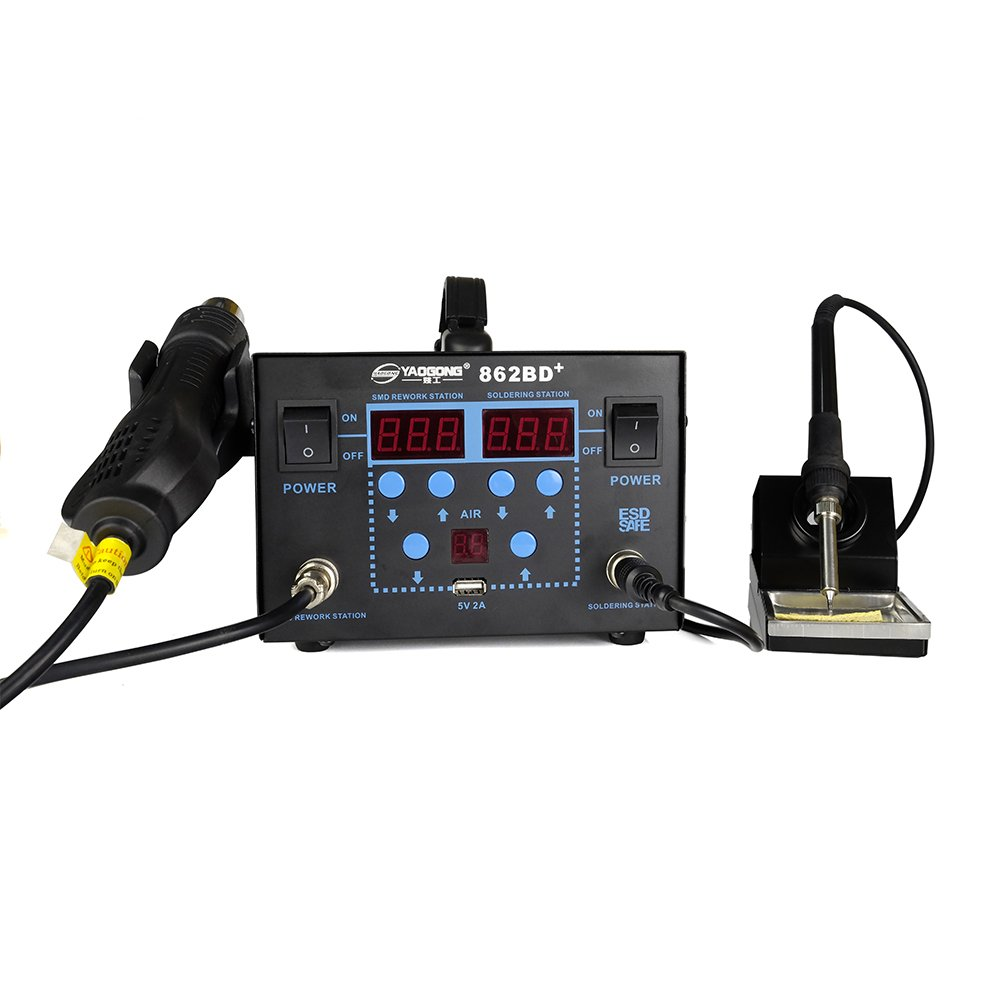 YAOGONG 862BD+# Hot Air 3 IN 1 Brushless SMD Automatic Rework Soldering Station USB 5V 2A ESD Safety(Warranty)