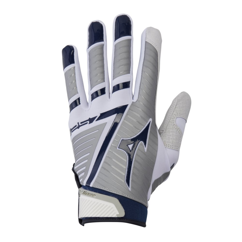 Mizuno F-257 Women's Softball Batting Glove, White-Navy, Medium