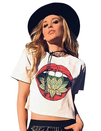 25b7caa3ccb1 FV RELAY Women s Short Sleeve Graphic Lips Print T Shirts Casual ...